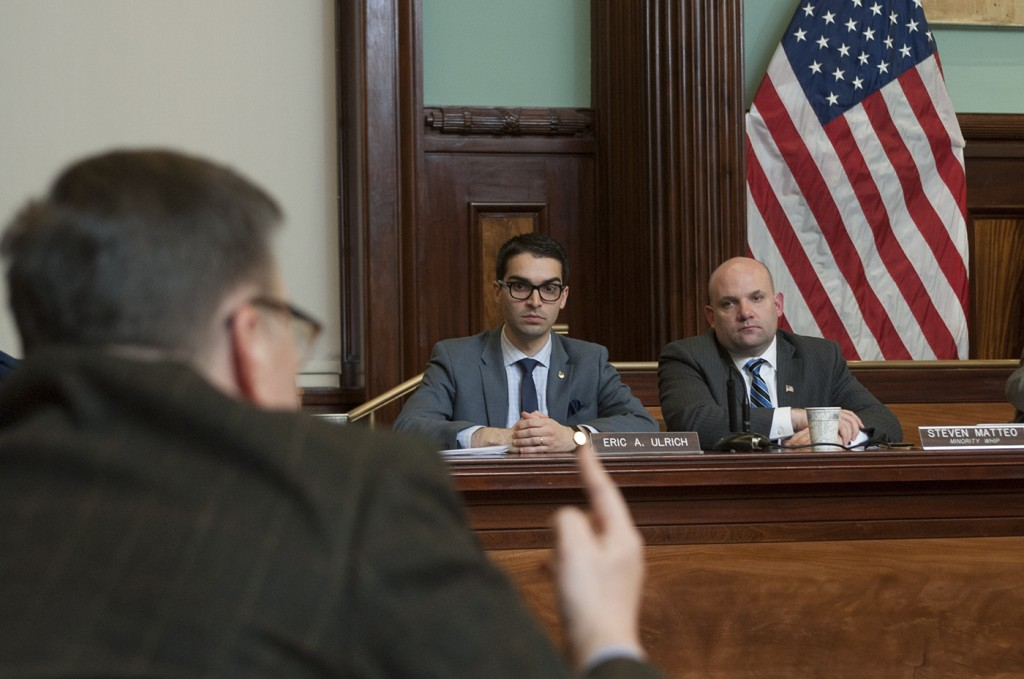 Councilman Eric Ulrich, center, attends a hearing on the Build It Back program at City Hall Monday. Photo by William Alatriste/NYC Council