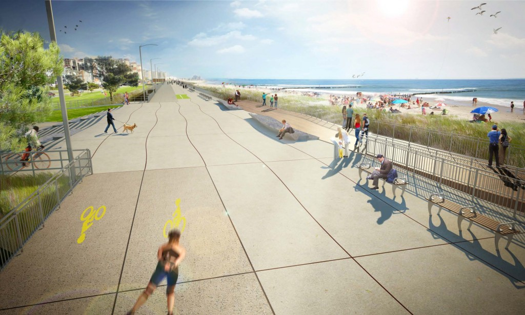 This draft rendering, which is still waiting for final approval, shows what officials imagine the finished Rockaway boardwalk to look like once it is completed by 2017. Rendering courtesy NYC Parks