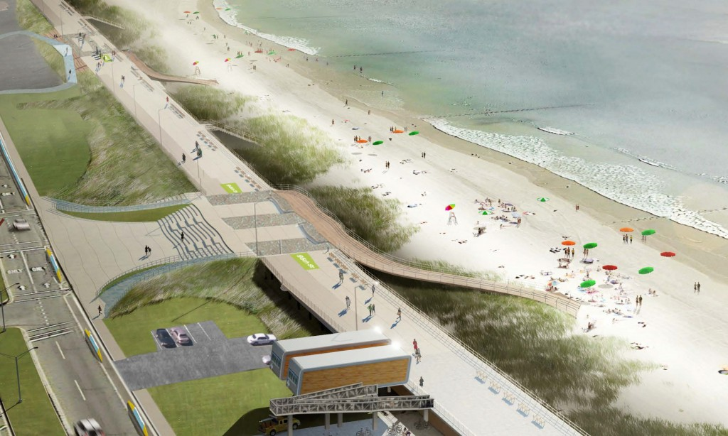 Construction began this week on the Rockaway boardwalk. This rendering is a draft image and is still waiting for approval to become an official plan. Rendering courtesy NYC Parks