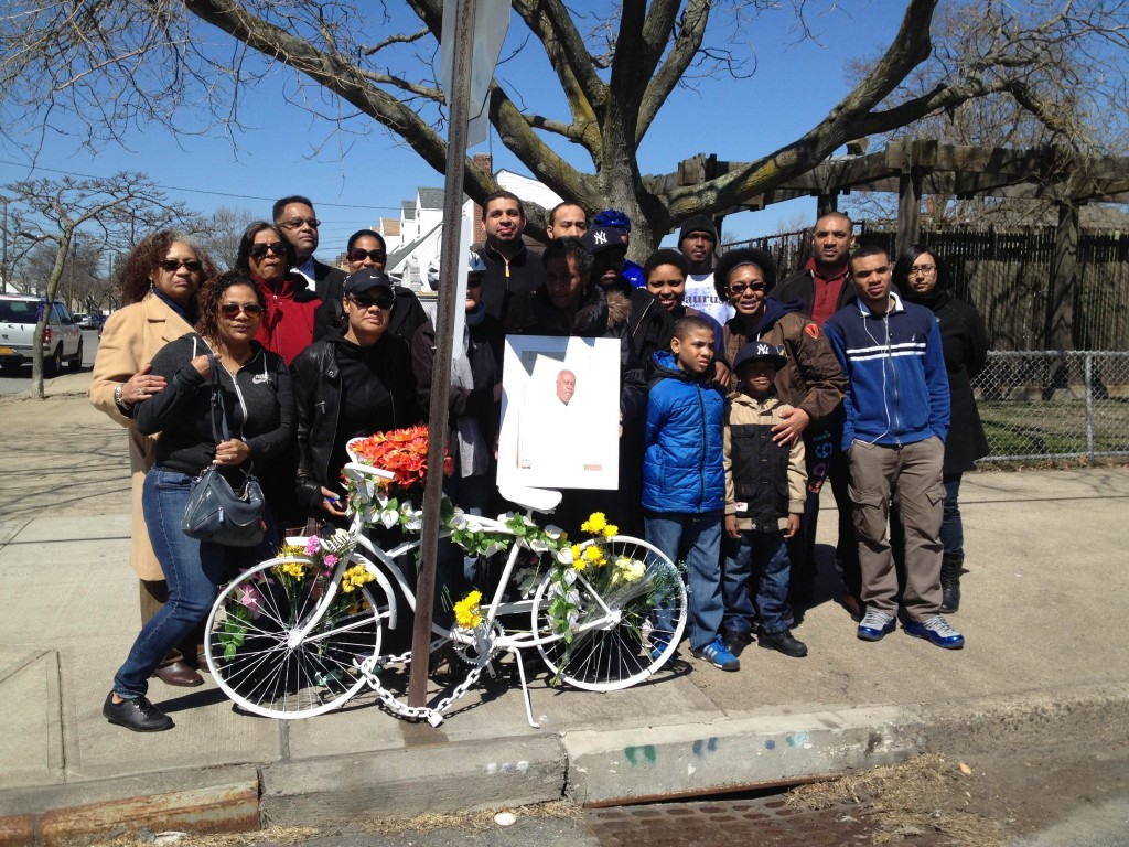 Gary Zammett's family gathered Sunday at the Howard Beach intersection where the husband and father was killed riding his bicycle last August.  Photo courtesy Jessame Hannus