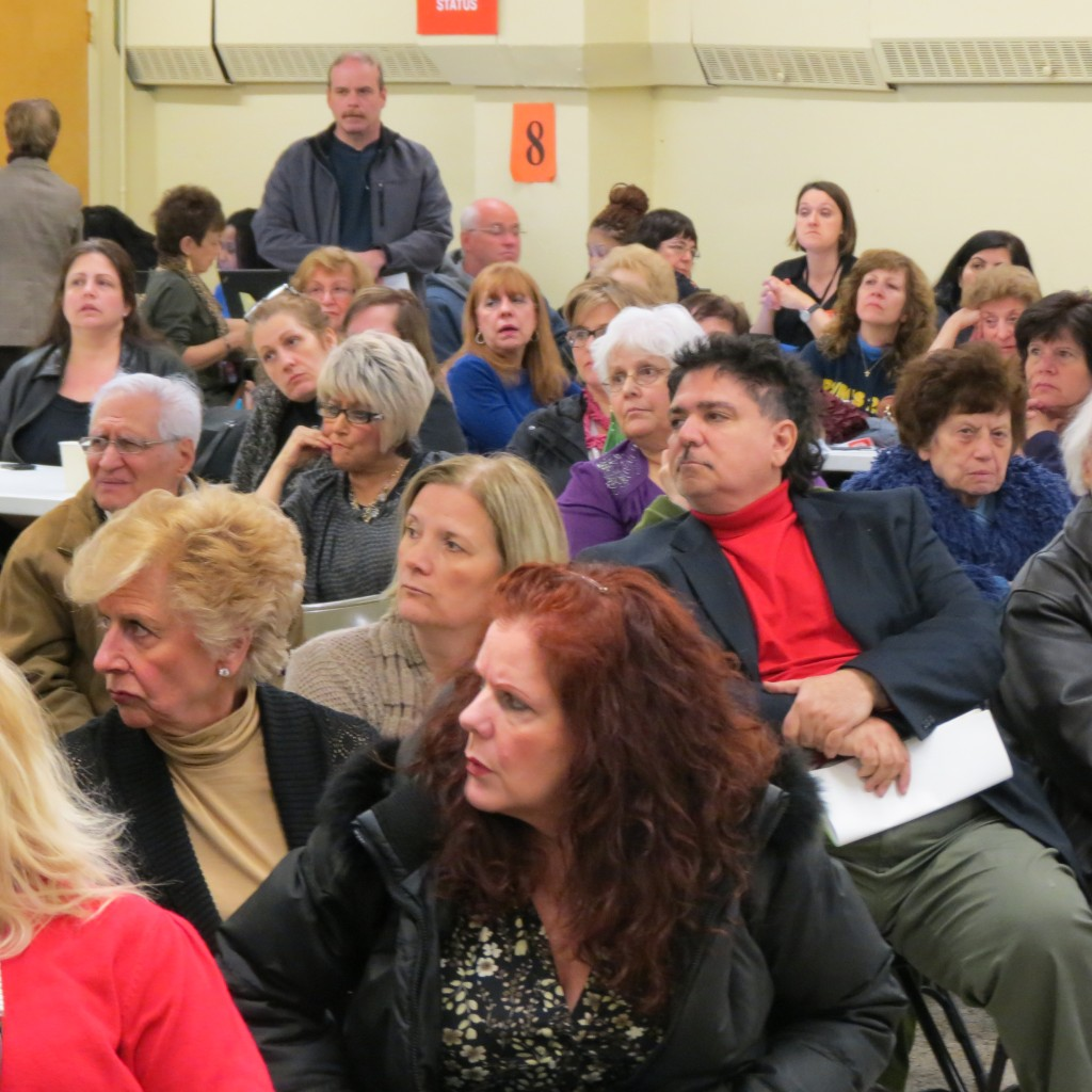 Hundreds of South Queens residents came out for the Howard Beach-Lindenwood Civic meeting Tuesday night at St. Helen's. Photo by Anna Gustafson