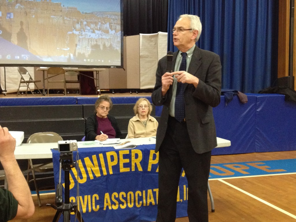 Juniper Park Civic Association President Robert Holden said residents have been skeptical of the plan to collect organic waste in parts of Glendale, Maspeth, and Middle Village. Photo by Phil Corso