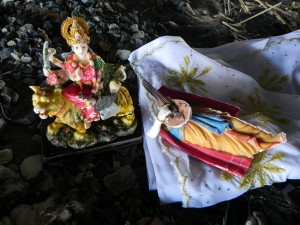 Such items as these statues are often left in Jamaica Bay's waters - a practice members of Sadhana are trying to change. Members of the group are asking worshipers to be more mindful of the environment and not leave goods that are non-biodegradable in the area. Photo by Hemma Kilawan