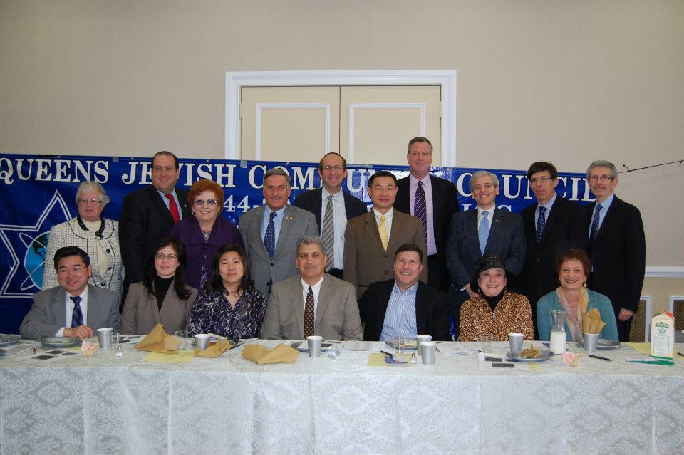 Queens City Council Members Karen Koslowitz, standing third from left, and Mark Weprin, sitting third from right, are two of the three borough council members tapped to serve on the revitalized Jewish Caucus. The third Queens lawmaker to sit on the caucus is Councilman Rory Lancman (D-Fresh Meadows). Photo courtesy the Queens Jewish Community Council