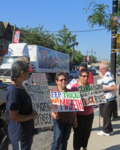 Residents have held many protests against truck traffic in Maspeth, including this one last summer. File photo