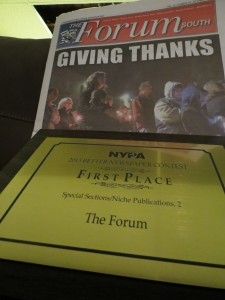 he New York Press Association last weekend awarded The Forum Newsgroup a first place prize for the paper's extensive coverage of the one-year anniversary of Hurricane Sandy.