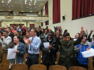 Students cheer in favor of keeping Richmond Hill's annex open.