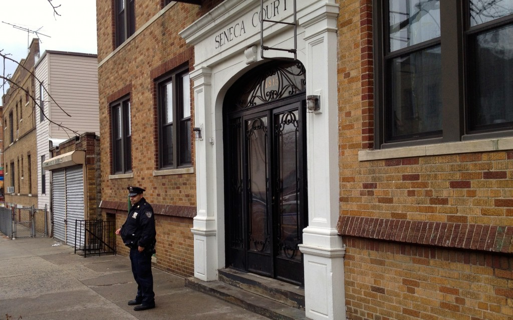 Police investigate a double homicide on Summerfield Street in Ridgewood last week. Photo by Phil Corso