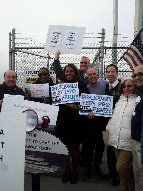 Cheering on the Rockaway Ferry Extension