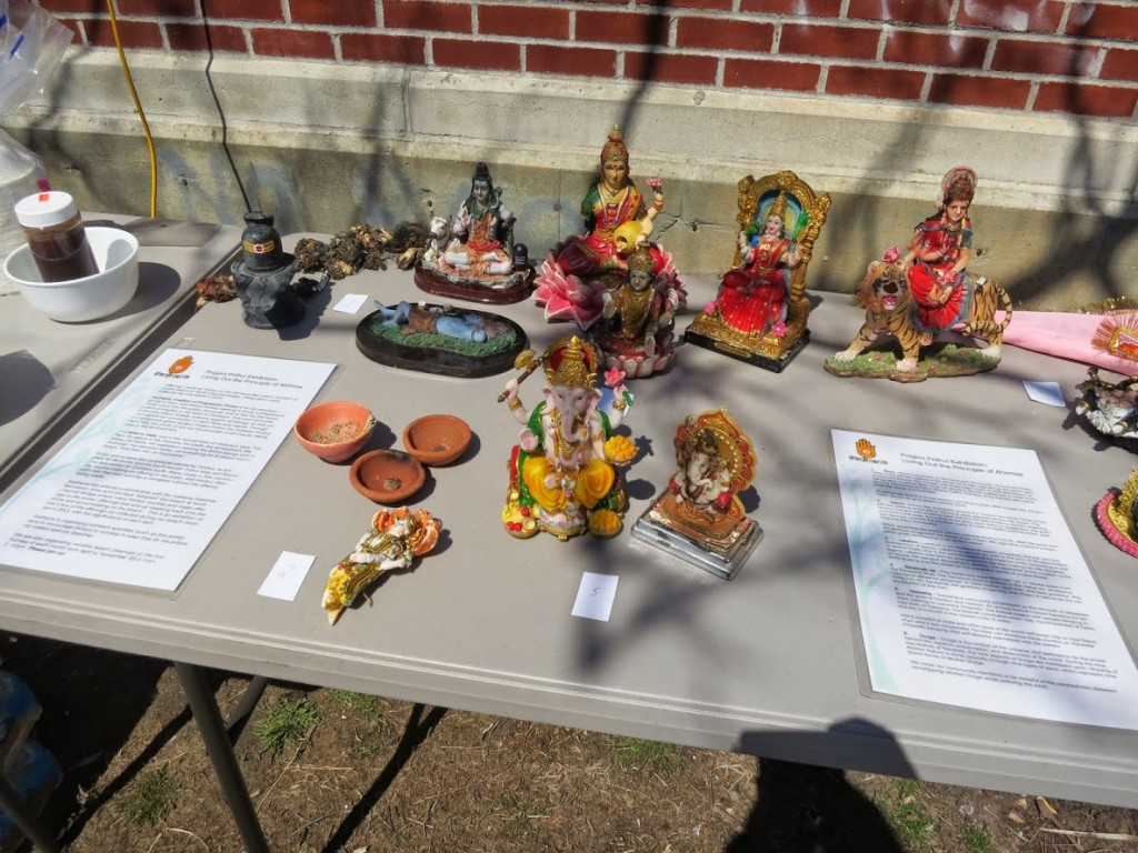 Members of Sadhana, an all-volunteer group of New York-based Hindus seeking to bring a progressive Hindu voice into the public discourse, displayed items that were found on the Jamaica Bay coastline during Sunday's cleanup. Photo by Sunita Viswanath