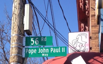 Pope John Paul II immortalized on Maspeth street