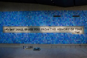 A quote from Virgil, an ancient Roman poet, emblazons one of the museum's walls.  Photo courtesy the National September 11 Memorial Museum