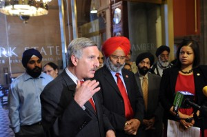 Assemblyman David Weprin, left, who could be challenged for his seat by community activist and attorney Ali Najmi, said he has worked hard in Albany on issues important to the South Asian community. Here, Weprin gathered with members of Sikh and other religious organizations gather in Albany to discuss the need to protect employees from religious discrimination in the workplace.  Photo courtesy NYS Assembly