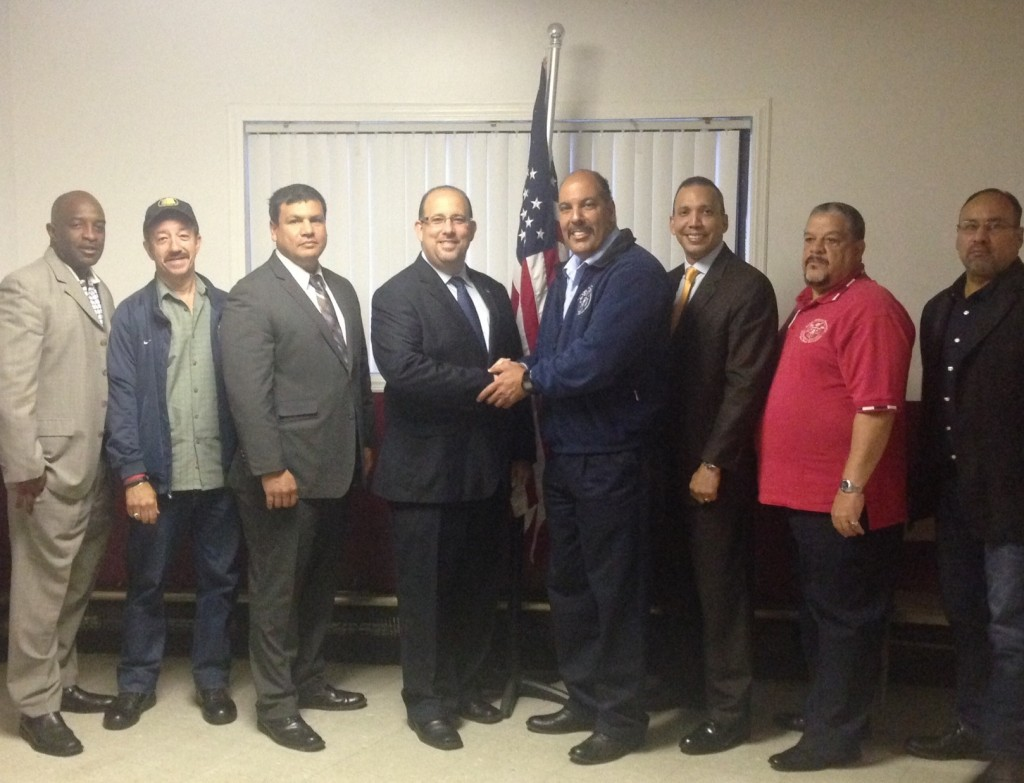 Dmytro Fedkowskyj, center, with National Latino Officers Association Chairman Anthony Miranda and the group's executive board. Photo courtesy Dmytro Fedkowskyj