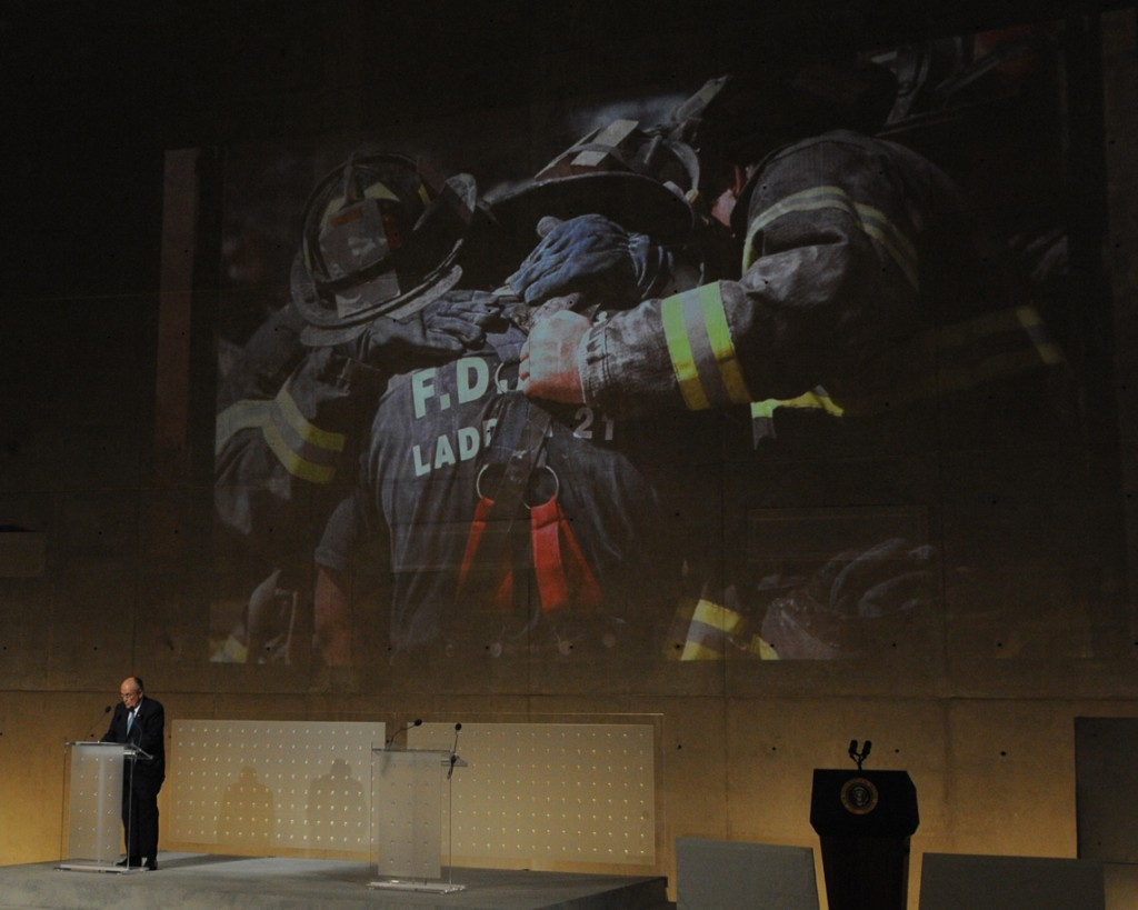 Former Mayor Mayor Rudy Giuliani speaks about the attacks of Sept. 11, 2001 at last week's ceremony marking the opening of the museum.  Photo courtesy the FDNY