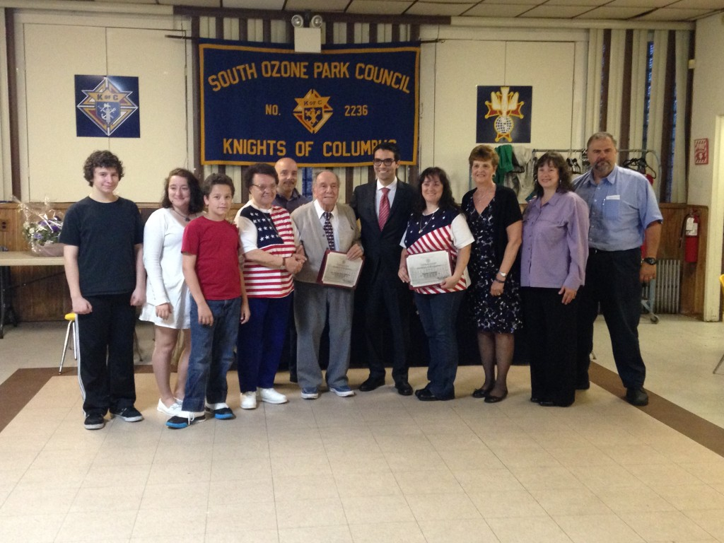 The Richmond Hill South Civic Association and elected officials honored the Cipriano family for their dedication to military men and women serving overseas.  Photo by Michael Florio