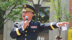 Retired U.S. Army Major General Evo Riguzzi spoke during the parade about the importance of attending events that honor those who have given their lives for their country.  Photo by Anna Gustafson