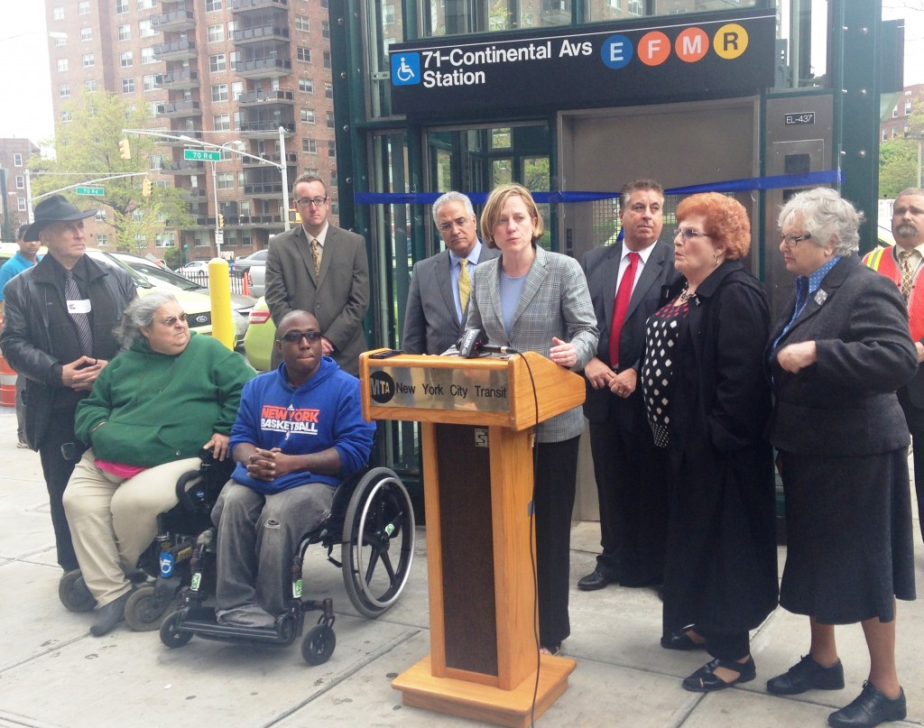 Borough President Melinda Katz, center, joined other elected officials, civic leaders, and subway riders to cut the ribbon on three new handicap-accessible elevators at the Forest Hills-71st Avenue subway station.  Photo courtesy Queens Borough President's Office