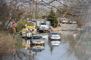 Flooded streets remained a problem last Thursday, the day after the storm.  Photo by Richard York