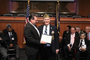 State Sen. Joe Addabbo Jr., left, honors former state Sen. Serphin Maltese in Albany. Maltese was inducted into the New York State Veterans Hall of Fame.  Photos courtesy NYS Senate