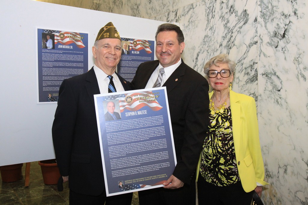 Serphin Maltese, left, state Sen. Joe Addabbo Jr., and Maltese's wife, Constance Maltese.  Photos courtesy NYS Senate