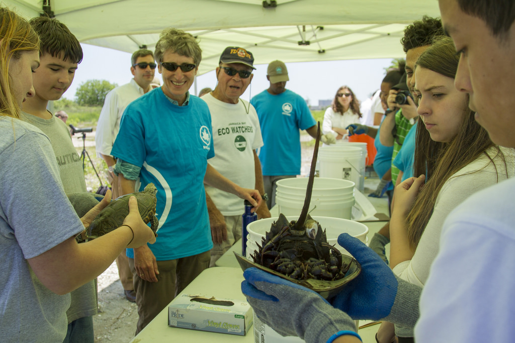 U.S. Department of the Interior Secretary Sally Jewell, center, spends time with students at Jamaica Bay on Monday.  Photo courtesy U.S. Department of the Interior
