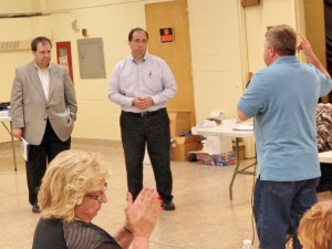 DEP representative Vincent Sapienza answers questions at Tuesday's Howard Beach-Lindenwood Civic Association meeting.  Photo by Phil Corso