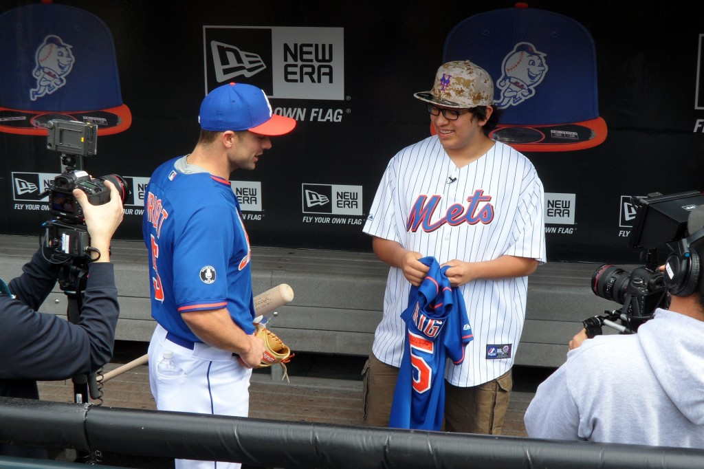 James Lozano, right, chats with Mets player David Wright. Wright and the Hospital for Special Surgery in Manhattan helped to fulfill Lozano's lifelong dream of running the bases and taking batting practice at Citi Field.  Photo courtesy Hospital for Special Surgery