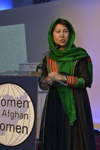 Shinkai Karokhail received the Malali Kakar Human Rights Award for her work co-founding the Afghan Women's Education Center and helping to build a strong and united Afghan women's movement.  Photos courtesy Women for Afghan Women
