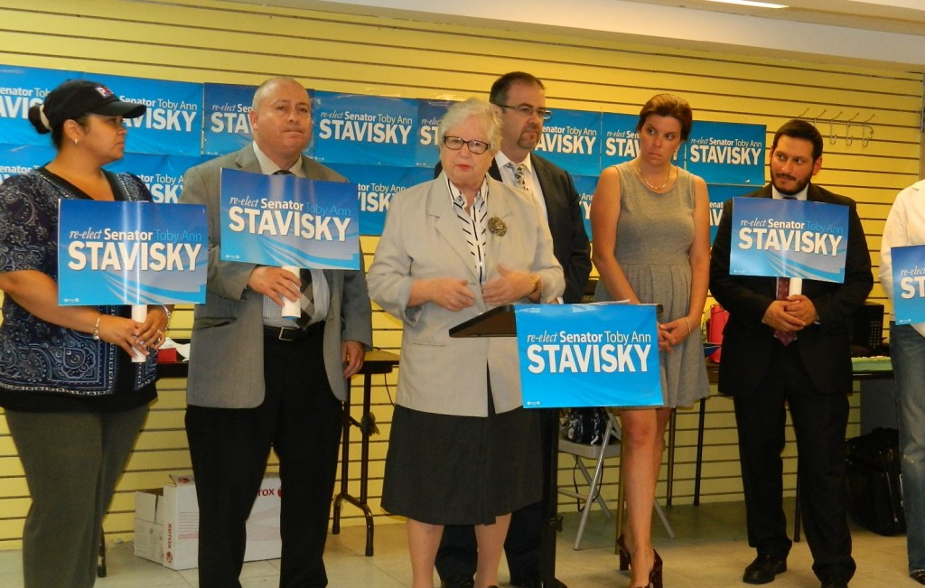 United Federation of Teacher member announced their support for the re-election bid by state Sen. Toby Stavisky, at podium, this week.  Photo courtesy Toby Stavisky's Campaign Office