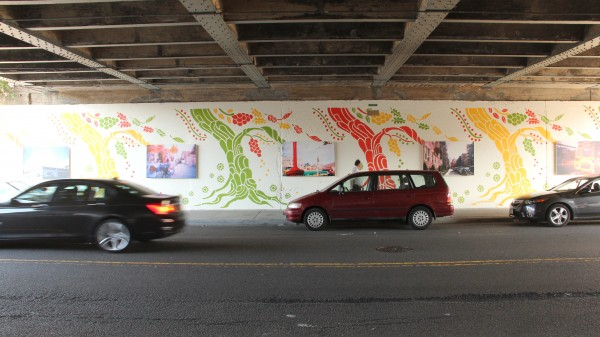 A mural underneath a Long Island Rail Road overpass in Rego Park shows what artists can accomplish if they work to beautify their community.  Photos by Cesar Bustamante