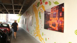 A special art exhibition was added to the walls beneath a Long Island Rail Road overpass in Rego Park last week.  Photos by Cesar Bustamante