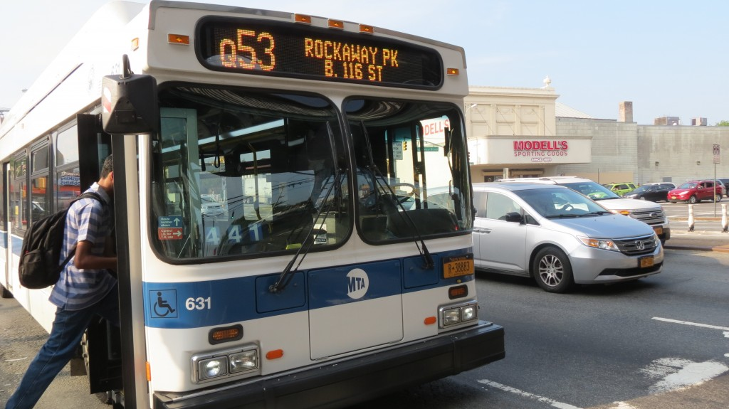 Residents are concerned that the Department of Transportation's plan to install a bus lane with select bus service along Cross Bay and Woodhaven boulevards would negatively impact parking, local bus services and traffic in the congested area. Photo by Ashley Helms