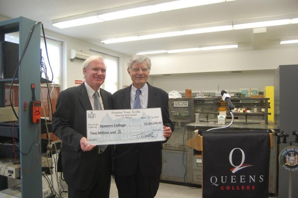 In order to renovate one of its science research and teaching laboratory, Queens College was awarded a $2 million grant on July 18 for the renovations. State Senator Tony Avella (D-Bayside) allocated the funds for the university towards the end of a recent legislative session and presented them to Queens College Interim President Evangelos Gizis. Photo courtesy Tony Avella's office