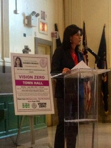 Crowley speaks at Vision Zero Town Hall meeting in Maspeth.  PHOTOS COURTESY OF COUNCILWOMAN ELIZABETH CROWLEY'S OFFICE