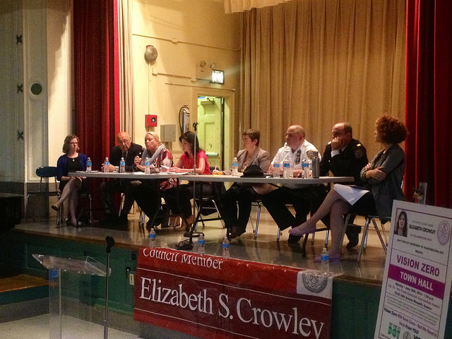 Crowley, along with a Representative from DOT and other officials discuss Vision Zero at Monday evening's Town Hall meeting. PHOTOS COURTESY OF COUNCILWOMAN ELIZABETH CROWLEY'S OFFICE
