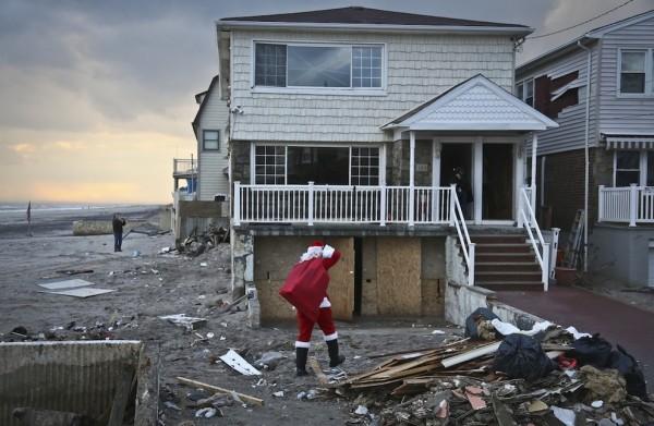 Sciaraffo visiting a home in wake of Hurricane Sandy.    Photos courtesy Michael Sciaraffo
