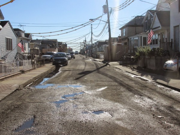 The city DOT and DDC have agreed to repave side streets initially left out of the Broad Channel Resurfacing Project. The additional work is scheduled to begin immediately. Photo by Peter Mahon
