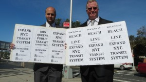 Mike Scala (l.) and Phil McManus of the Queens Public Transit Committee are opposed to the plan.   Photo by Michael V. Cusenza