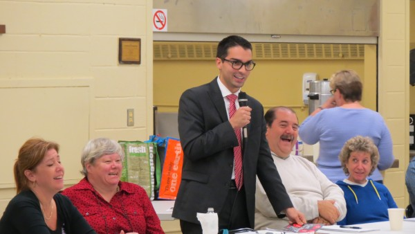 "City Councilman Eric Ulrich told his constituents that he'll vote ""No"" to the plastic bag fee.  Photo by Michael V. Cusenza"