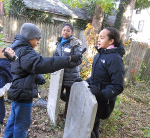 Student-volunteers interviewed each other to express what it felt like to beautify a patch of history.  Photos Courtesy of Ed Wendell