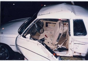 Parenti's car after he was extricated from the driver's seat, where he suffered one of three cardiac arrests.  Photo Courtesy of Joseph Parenti