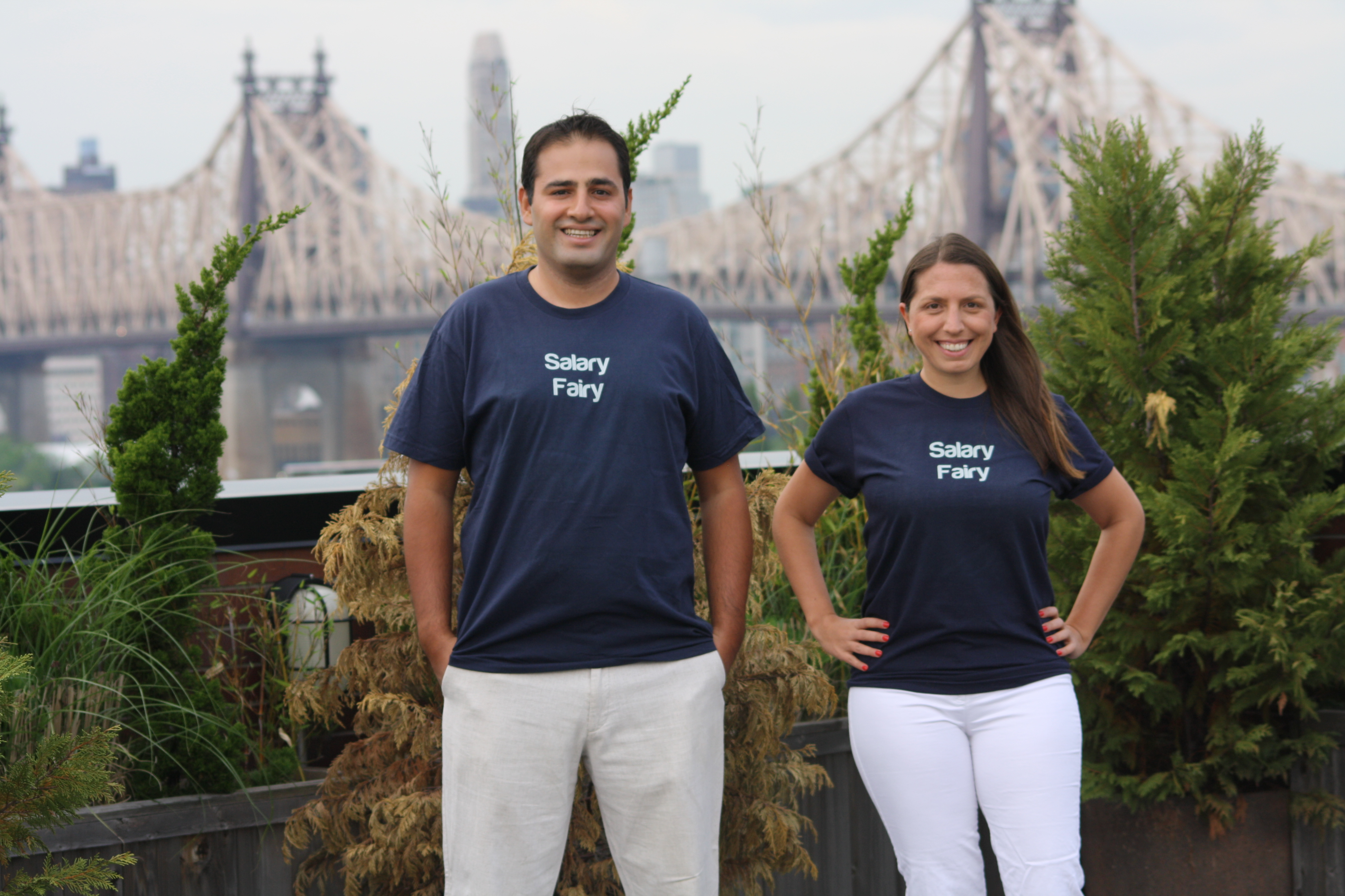 Cagri (l.) and Gozde Aksay, husband and wife founders of LIC-based Salaryfairy.com. Photo Courtesy of Cagri Aksay.