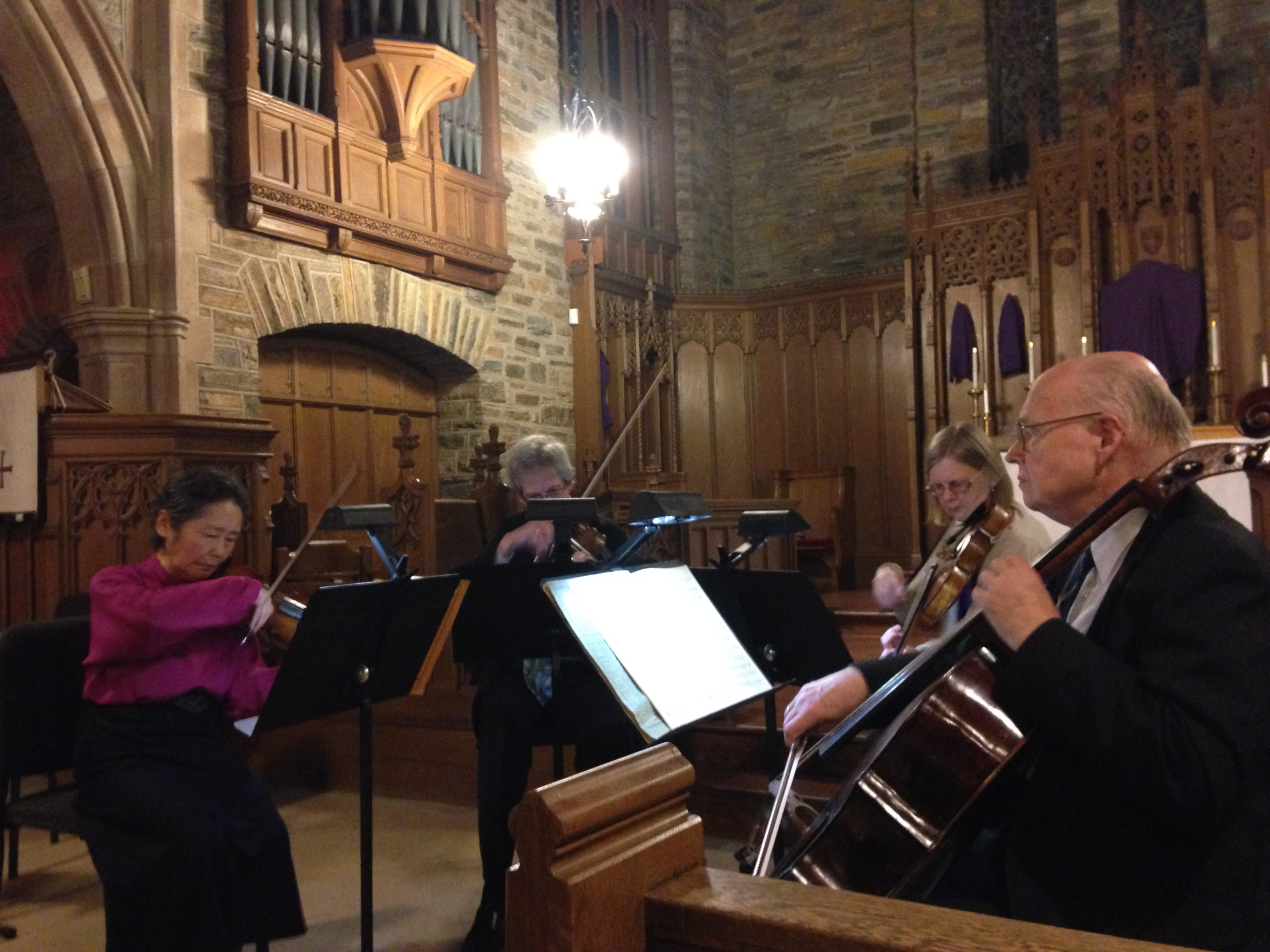 The Queens Symphony Orchestra last Wednesday kicked off the 2015 Salon Concert Series with a show at All Saints Episcopal Church in Woodhaven featuring the music of Johann Sebastian Bach and Claude Debussy. The series, funded through the office of City Councilman Eric Ulrich (R-Ozone Park), supports nine free concerts at various locations in the 32nd Council District. Photo Courtesy of Ed Wendell/Woodhaven Cultural & Historical Society.