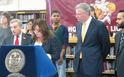 De Blasio Tours Richmond Hill HS, Touts 'Renewal' Program