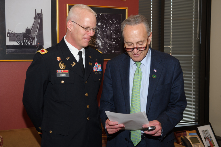 Senator Schumer met this week with Colonel Paul Owen in Washington to discuss the Rockaway Reformulation Study. Photo courtesy of the Office of U.S. Senator Charles Schumer.