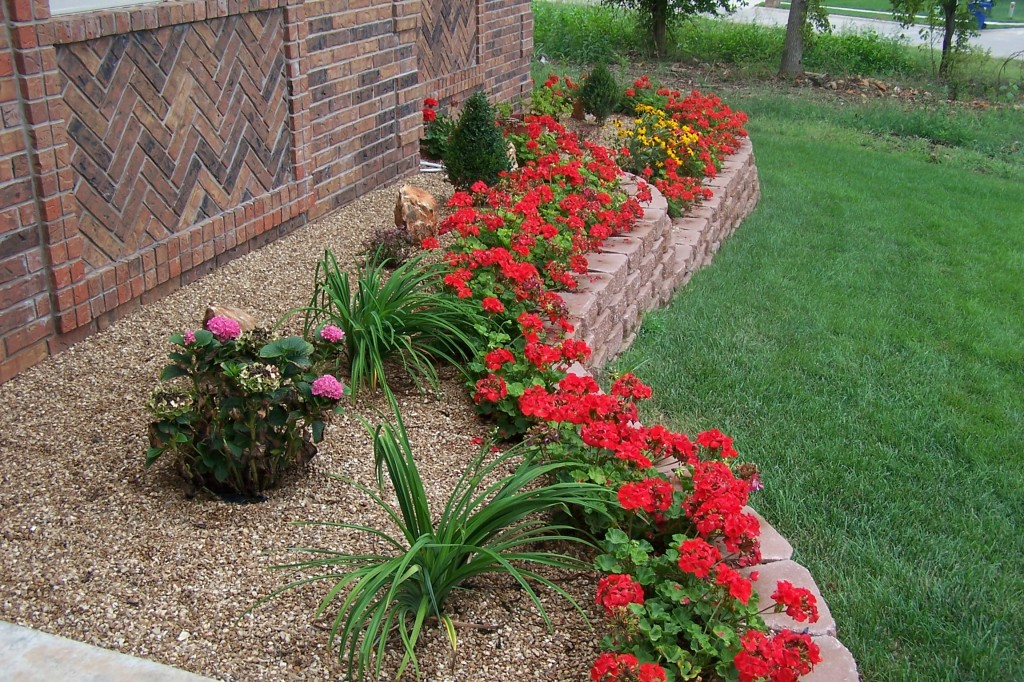 Starting  out with something simple and relatively sparse is the best bet for beginning green thumbs.  Using a combination of hearty groundcover and vibrantly colored flowers will yield a beautiful space
