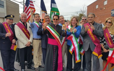 Revelers Color Cross Bay Green, White, & Red at Howard Beach Columbus Day Parade