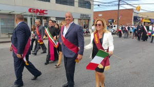 Angelo and Ann Marie Gurino, Howard Beach Columbus Day Foundation treasurer and secretary, respectively, greeted the crowd as they strolled down Cross Bay Boulevard.