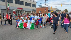 The next generation honored their Italian heritage with tri-colored banners, bunting, and flags.